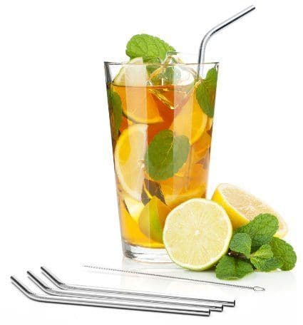 50 x Stainless Steel Drinking Straws (8mm x 215mm) ANGLED